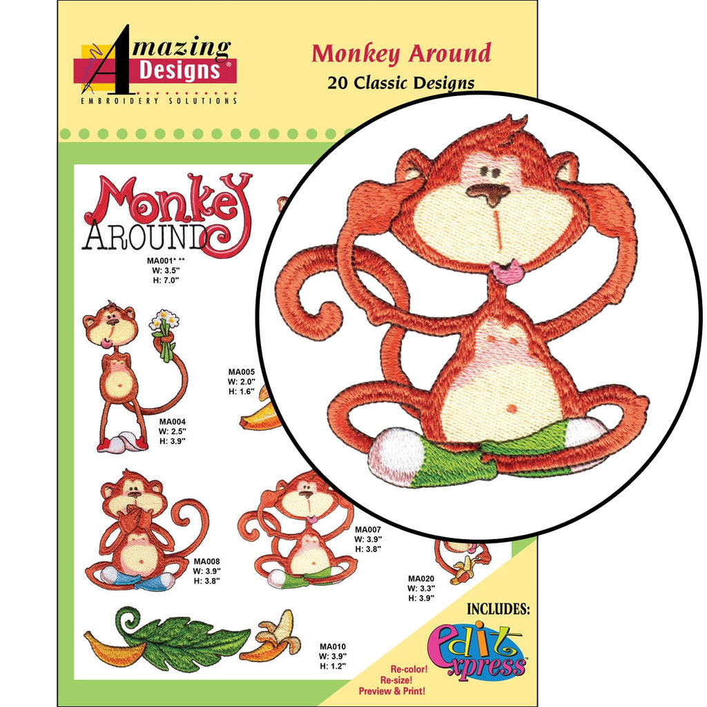 Monkey Around Embroidery Designs CD