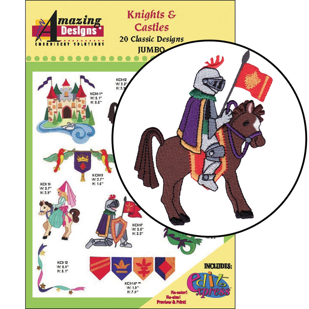 Knights and Castles Embroidery Designs CD