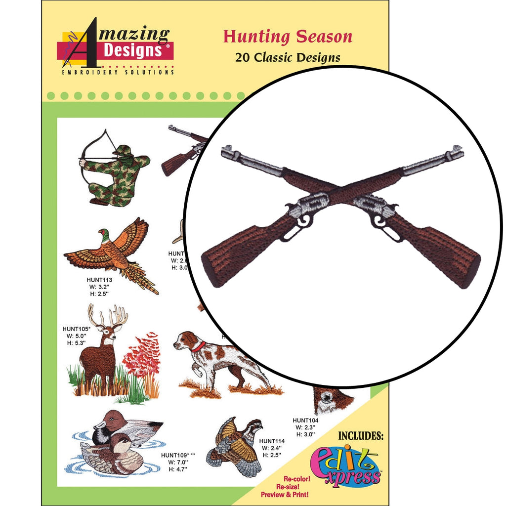 Hunting Season Embroidery Designs CD