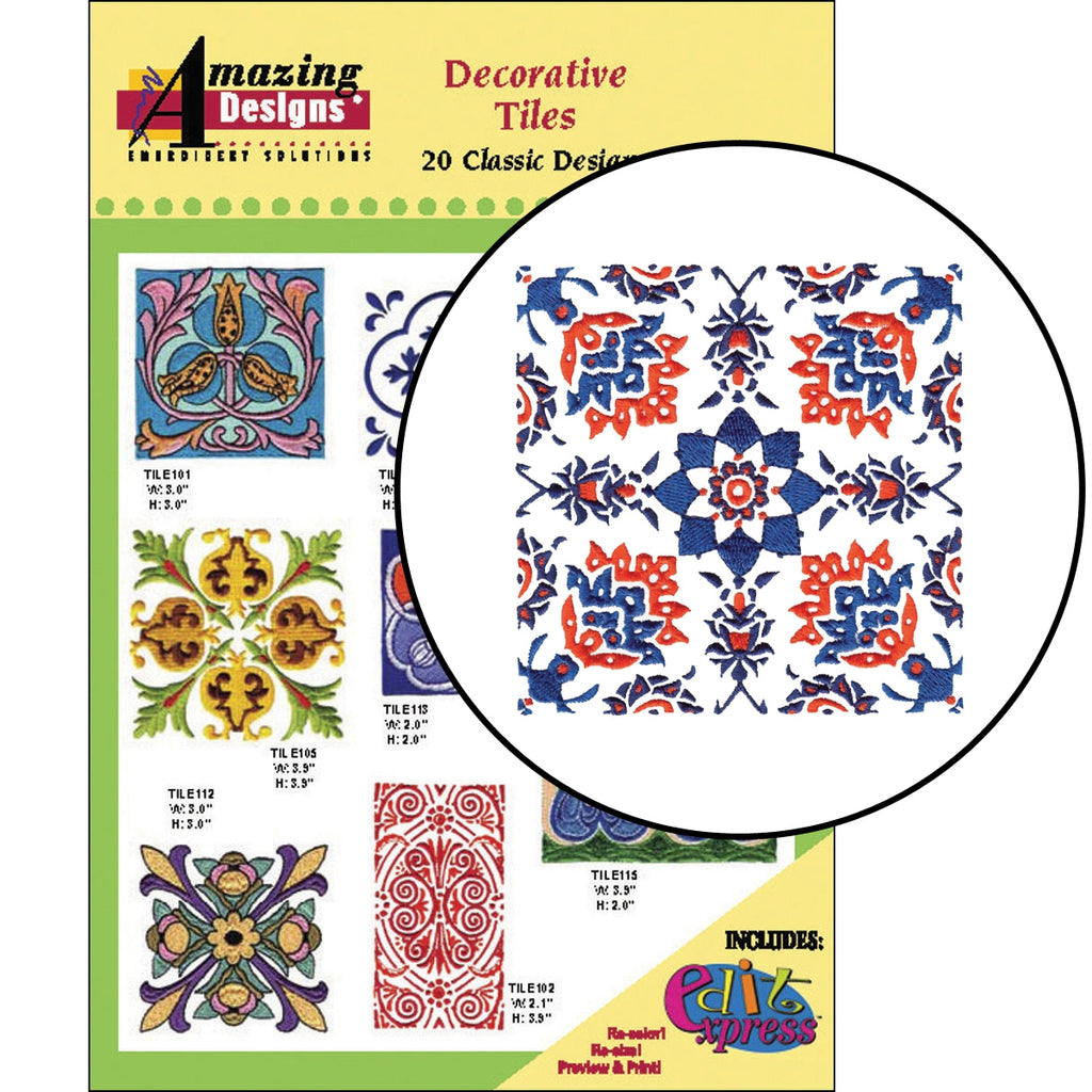 Decorative Tiles Embroidery Designs CD