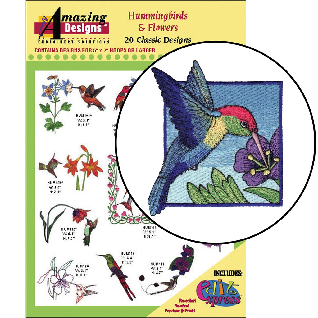 Hummingbirds and Flowers Embroidery Designs CD