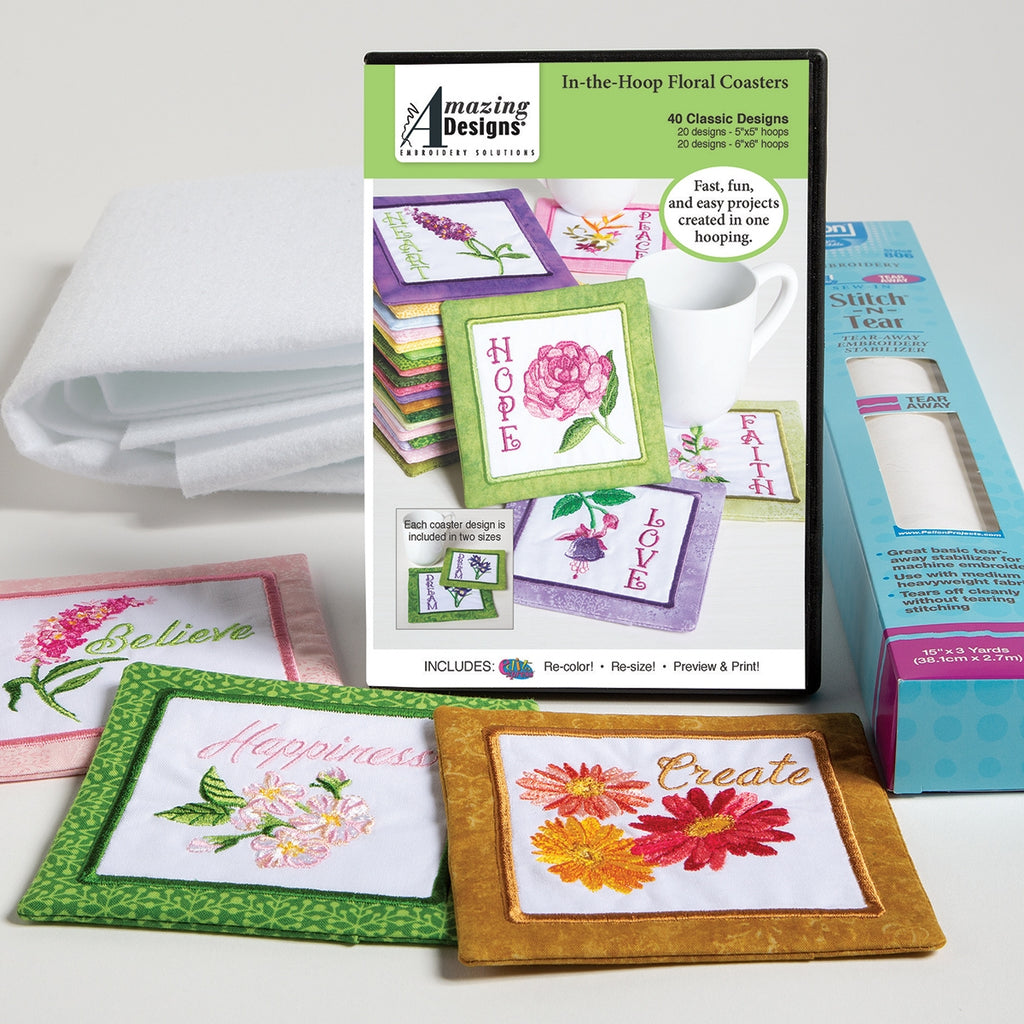 In-the-Hoop Floral Coasters Embroidery Starter Kit