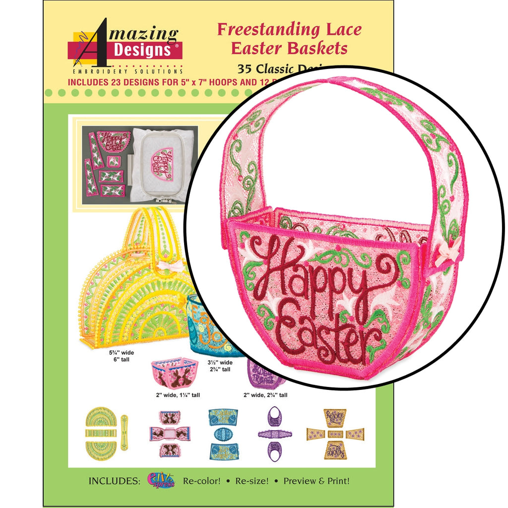Freestanding Lace Easter Baskets Embroidery Designs CD
