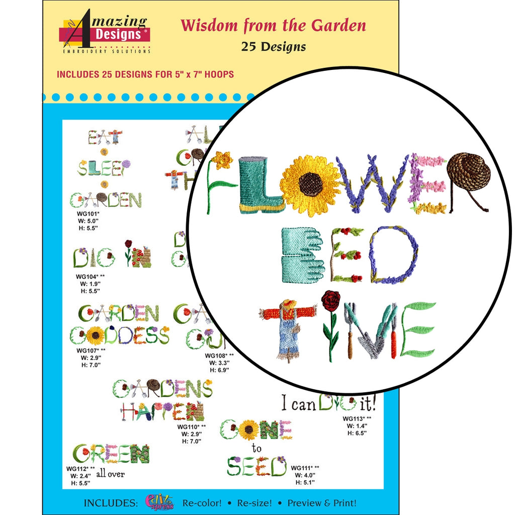 Wisdom from the Garden Embroidery Designs CD