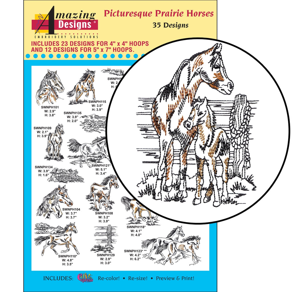 CD: PICTURESQUE PRAIRIE HORSES EMBROIDERY DESIGNS