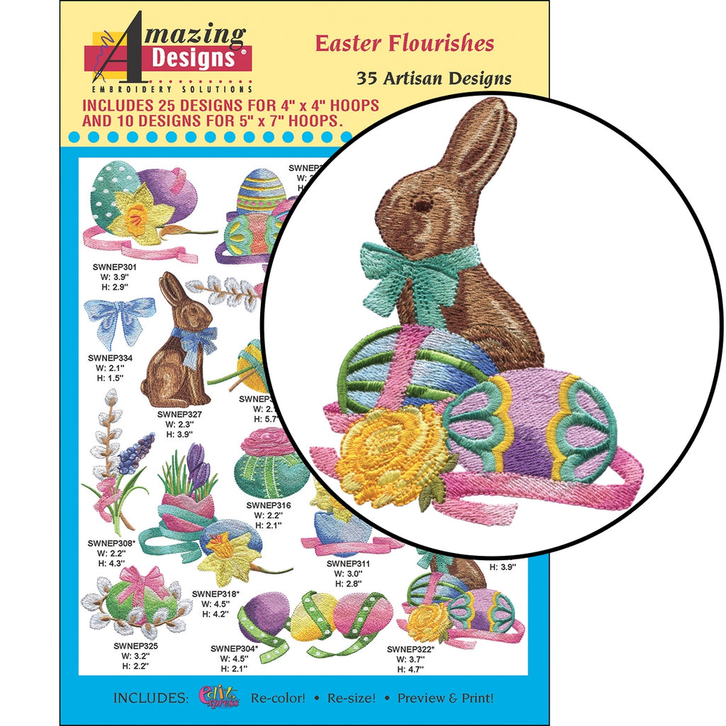 CD: EASTER FLOURISHES EMBROIDERY DESIGNS
