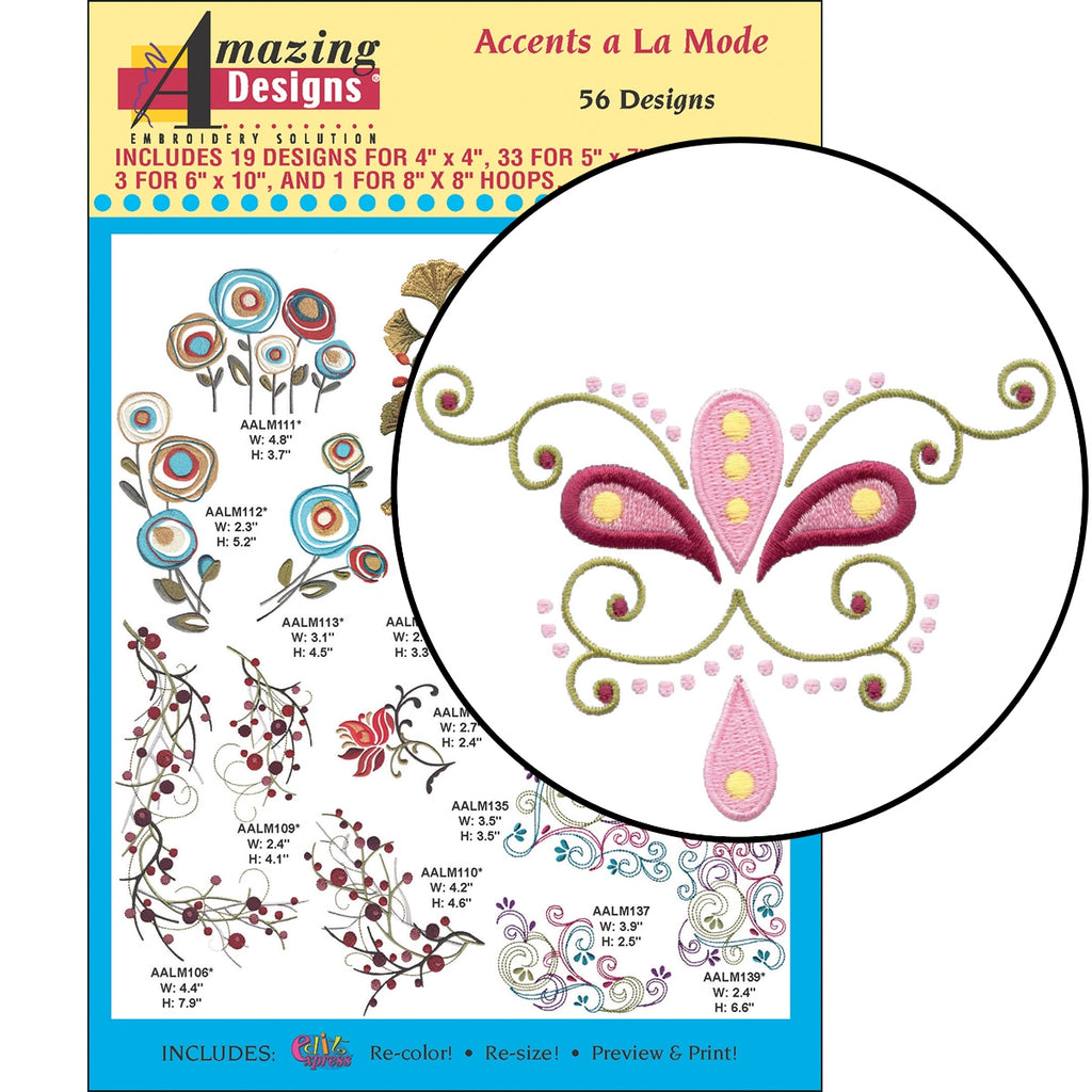CD: ACCENTS A LA MODE EMBROIDERY DESIGNS