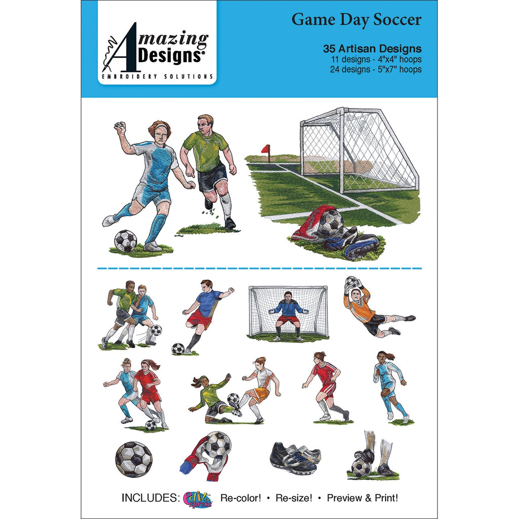 Amazing Designs Game Day Soccer Embroidery Designs CD