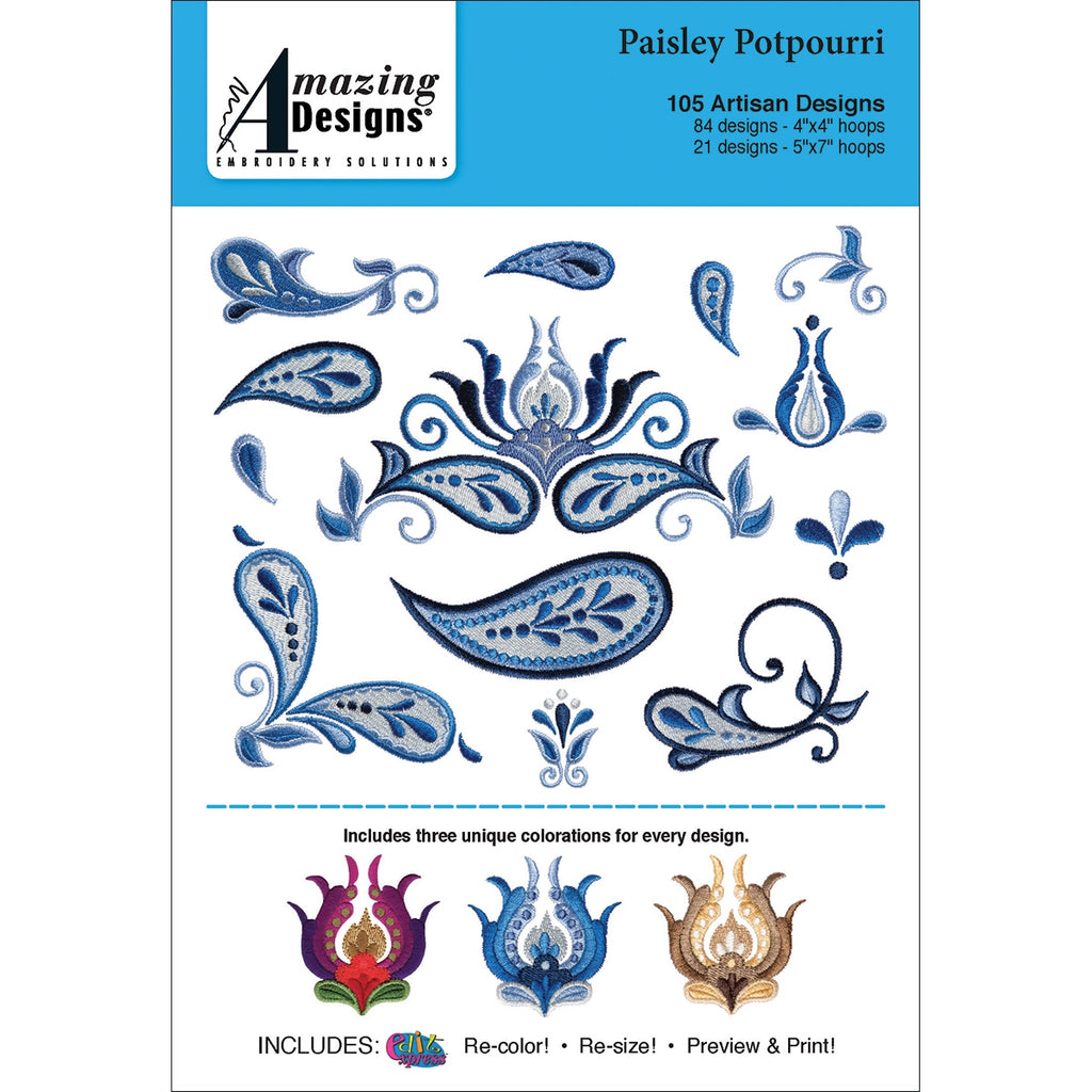 Amazing Designs Paisley Potpourri Embroidery Designs CD