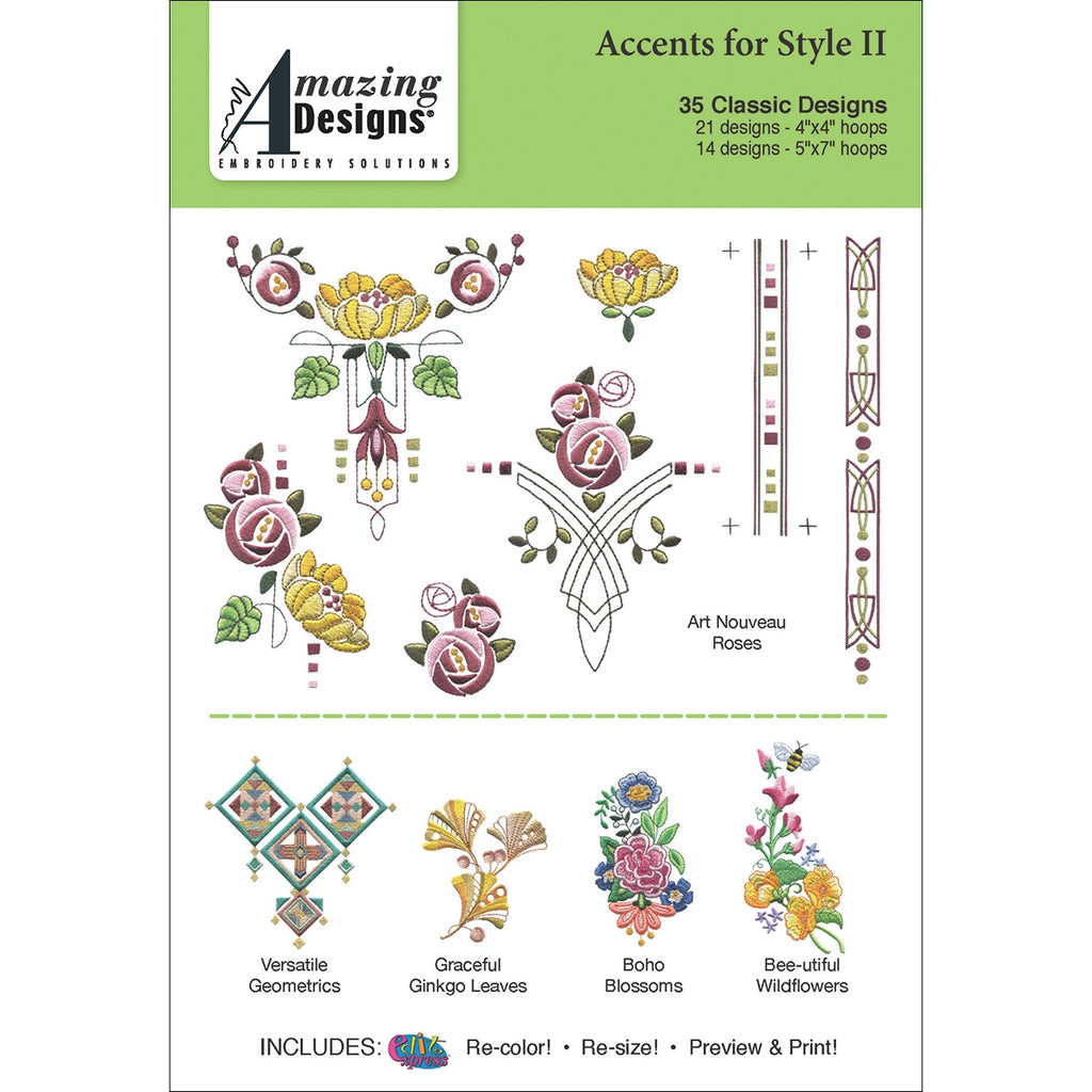 Amazing Designs Accents for Style 2 Embroidery Designs CD