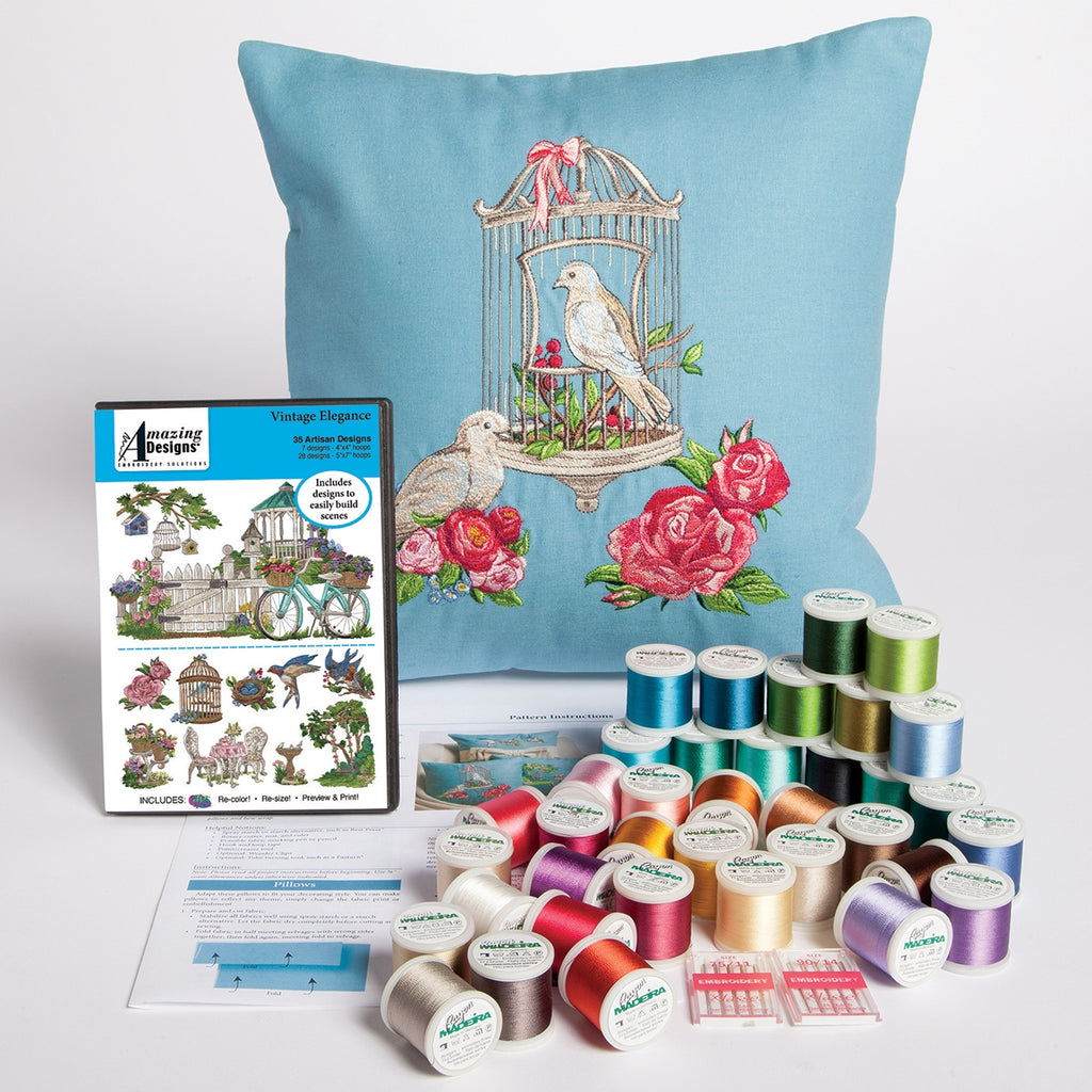 VINTAGE ELEGANCE EMBROIDERED PILLOWS STARTER KIT