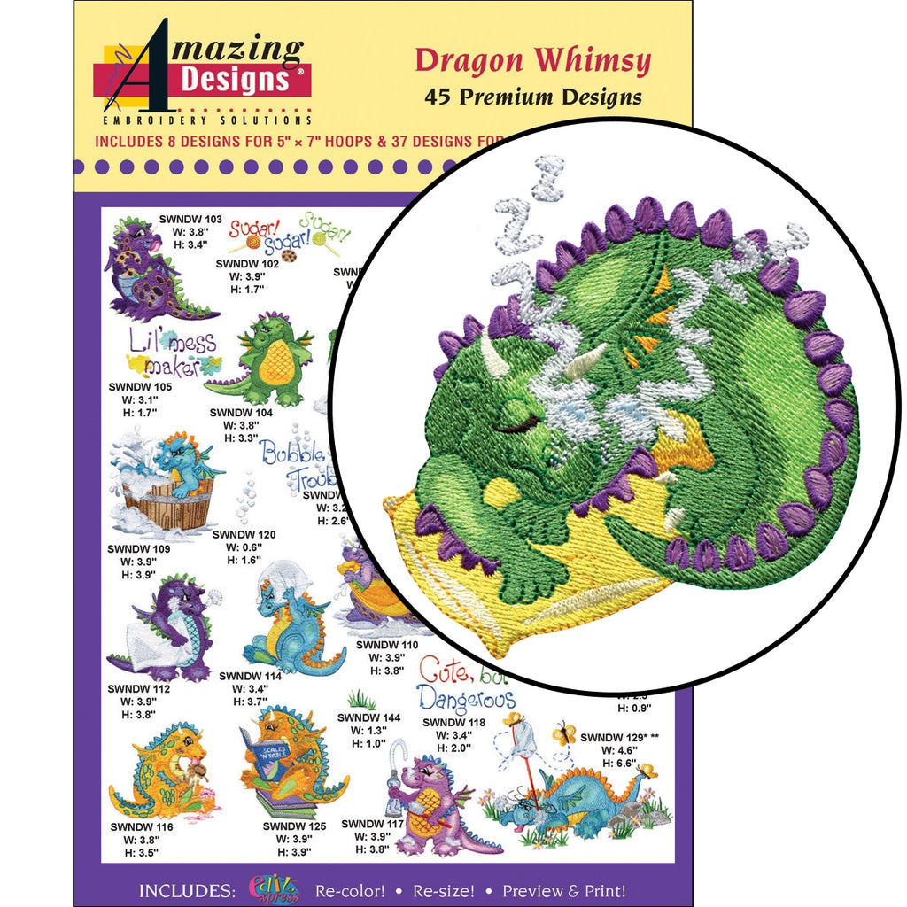 Dragon Whimsy Embroidery Designs CD