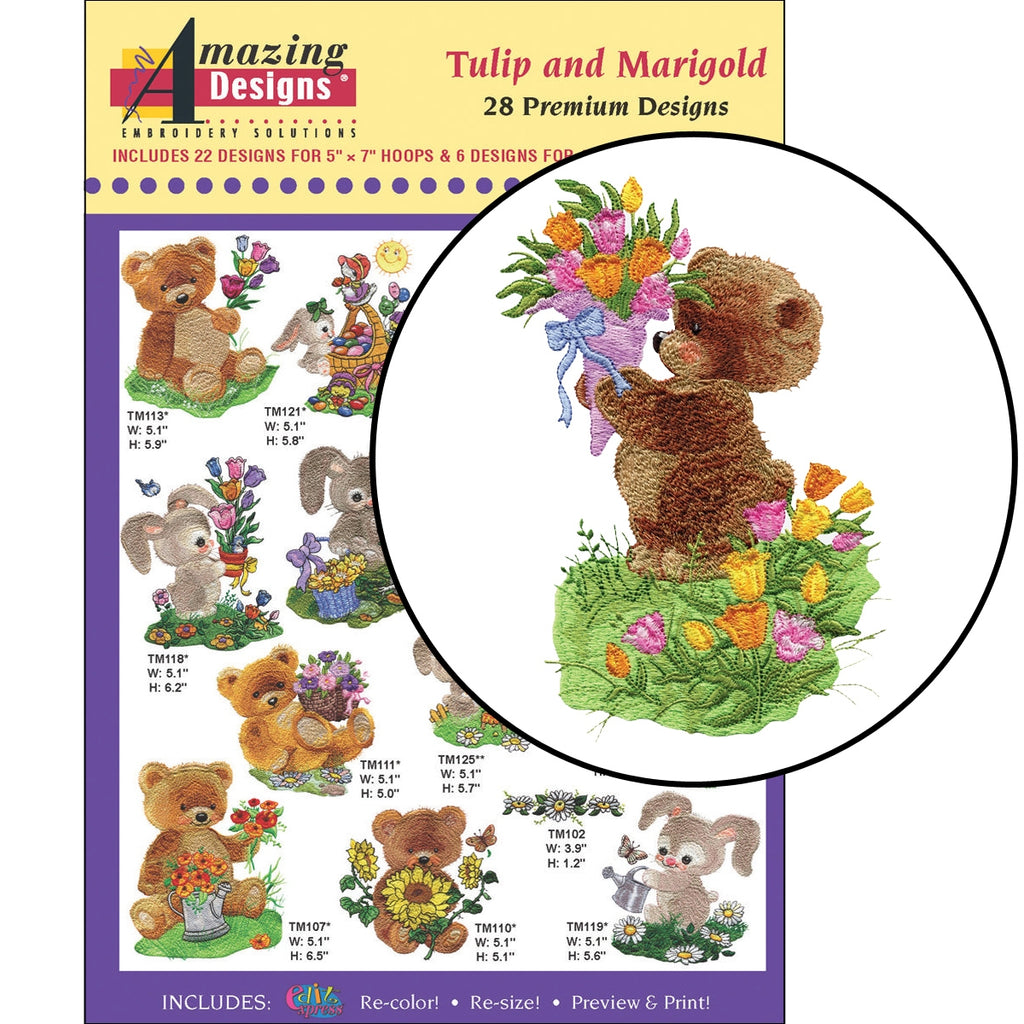 Tulip and Marigold Embroidery Designs CD
