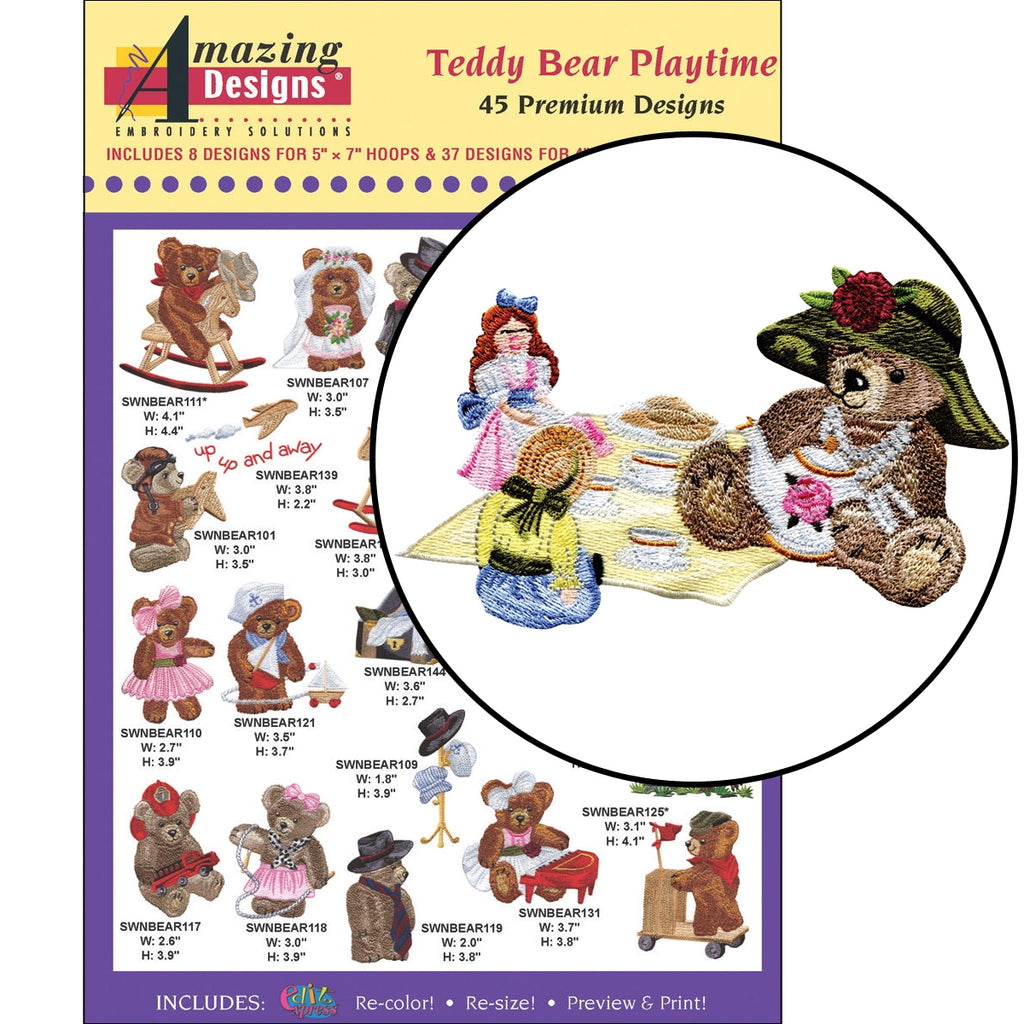 Teddy Bear Playtime Embroidery Designs CD