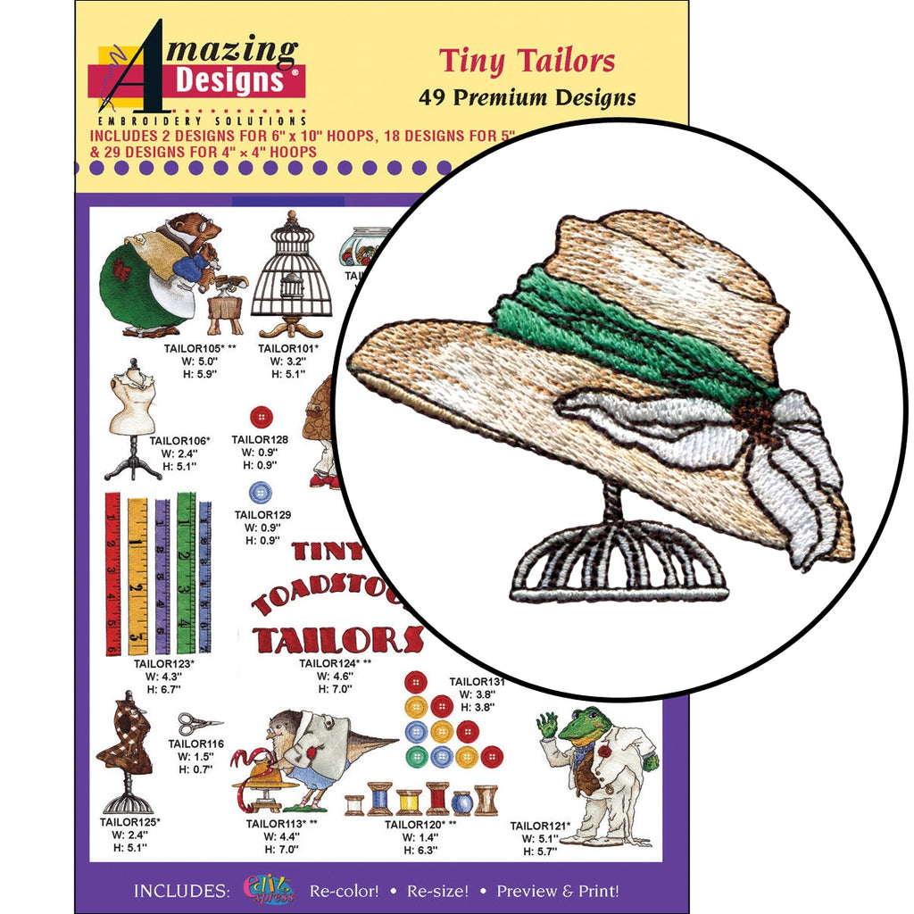 Tiny Tailors Embroidery Designs CD
