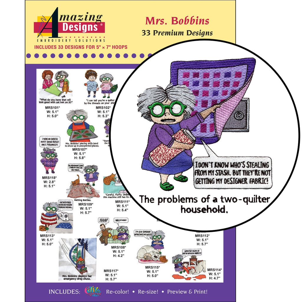 Mrs. Bobbins Embroidery Designs CD