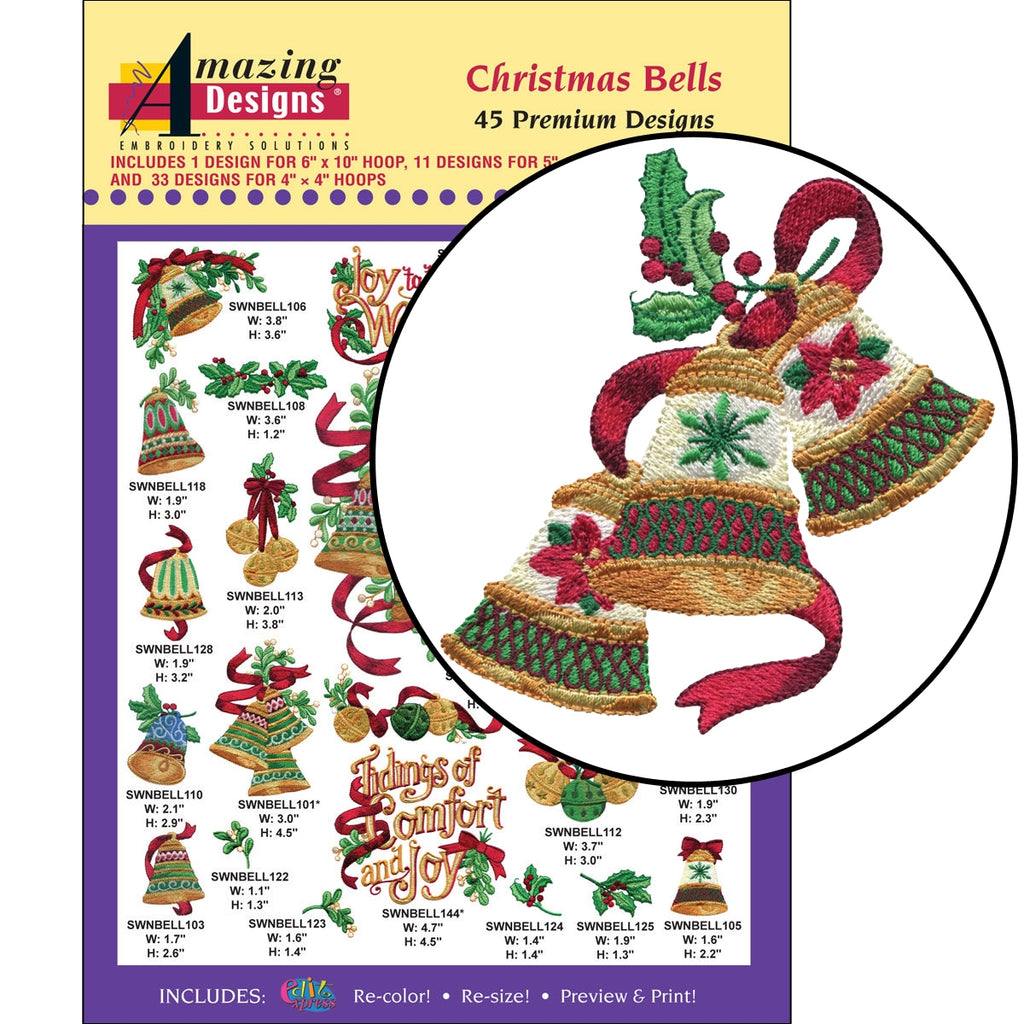 Christmas Bells Embroidery Designs CD