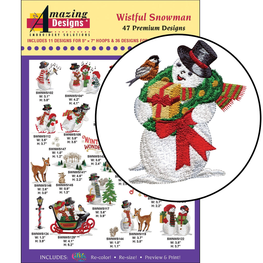 Wistful Snowman Embroidery Designs CD