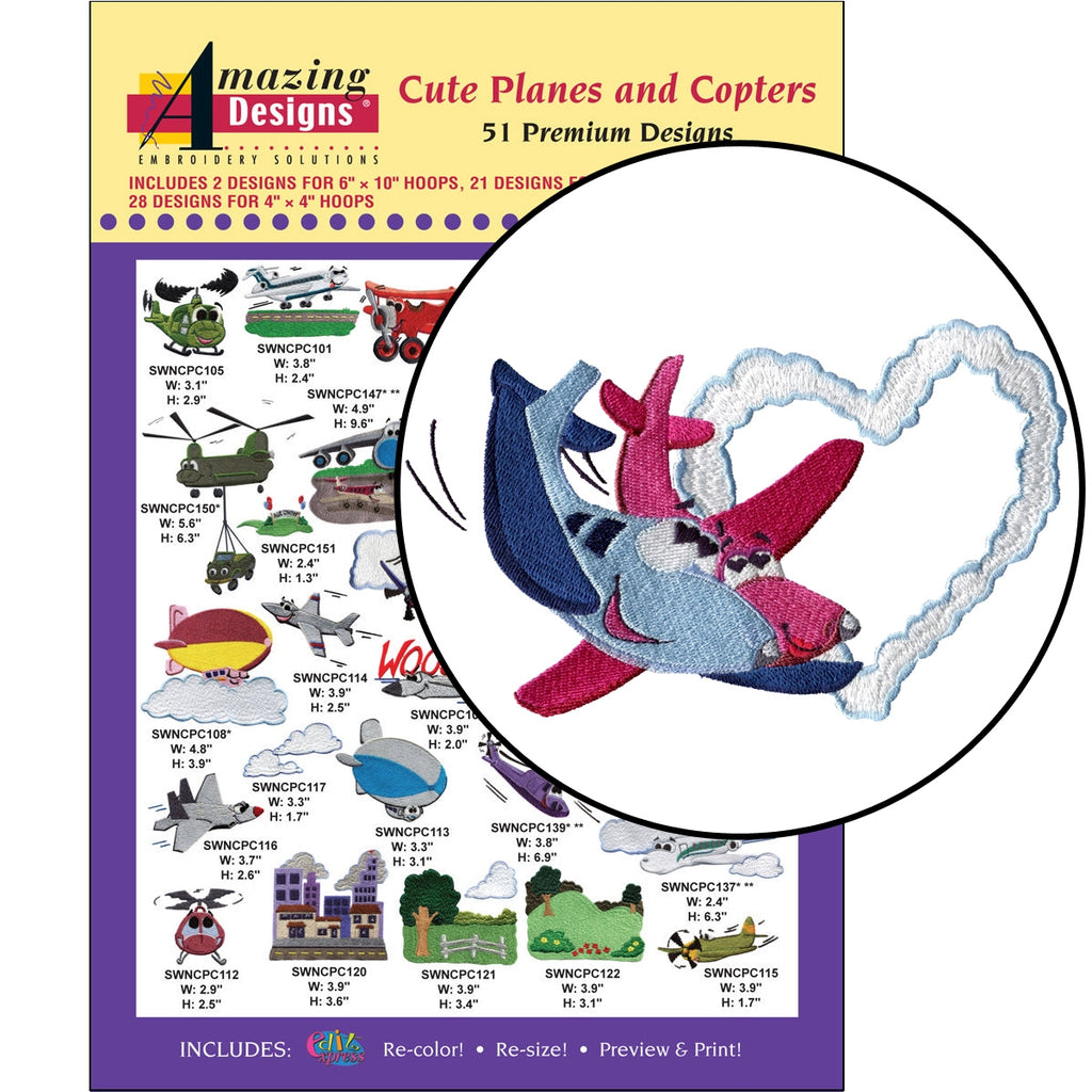 Cute Planes and Copters Embroidery Designs CD