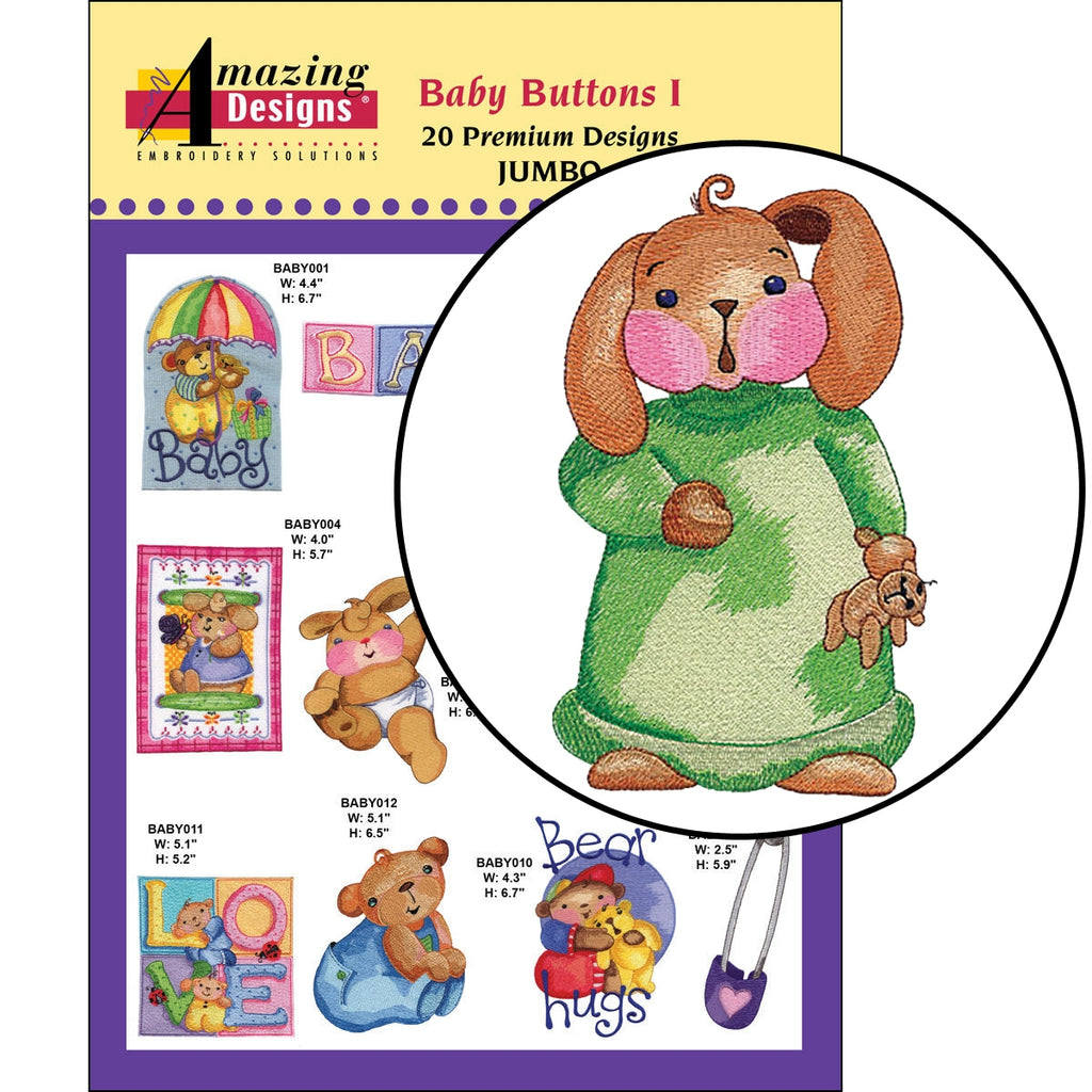 Baby Buttons I Embroidery Designs CD