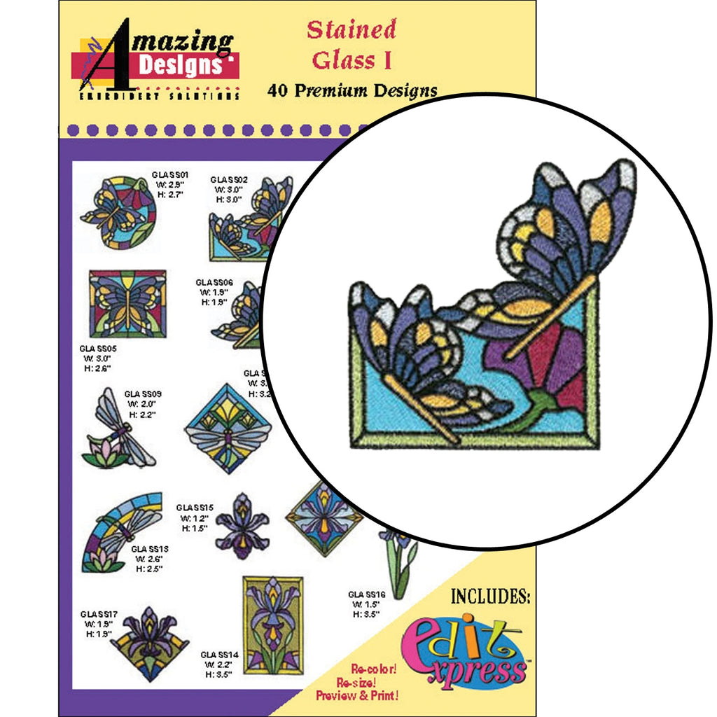 Stained Glass Gems Embroidery Designs CD