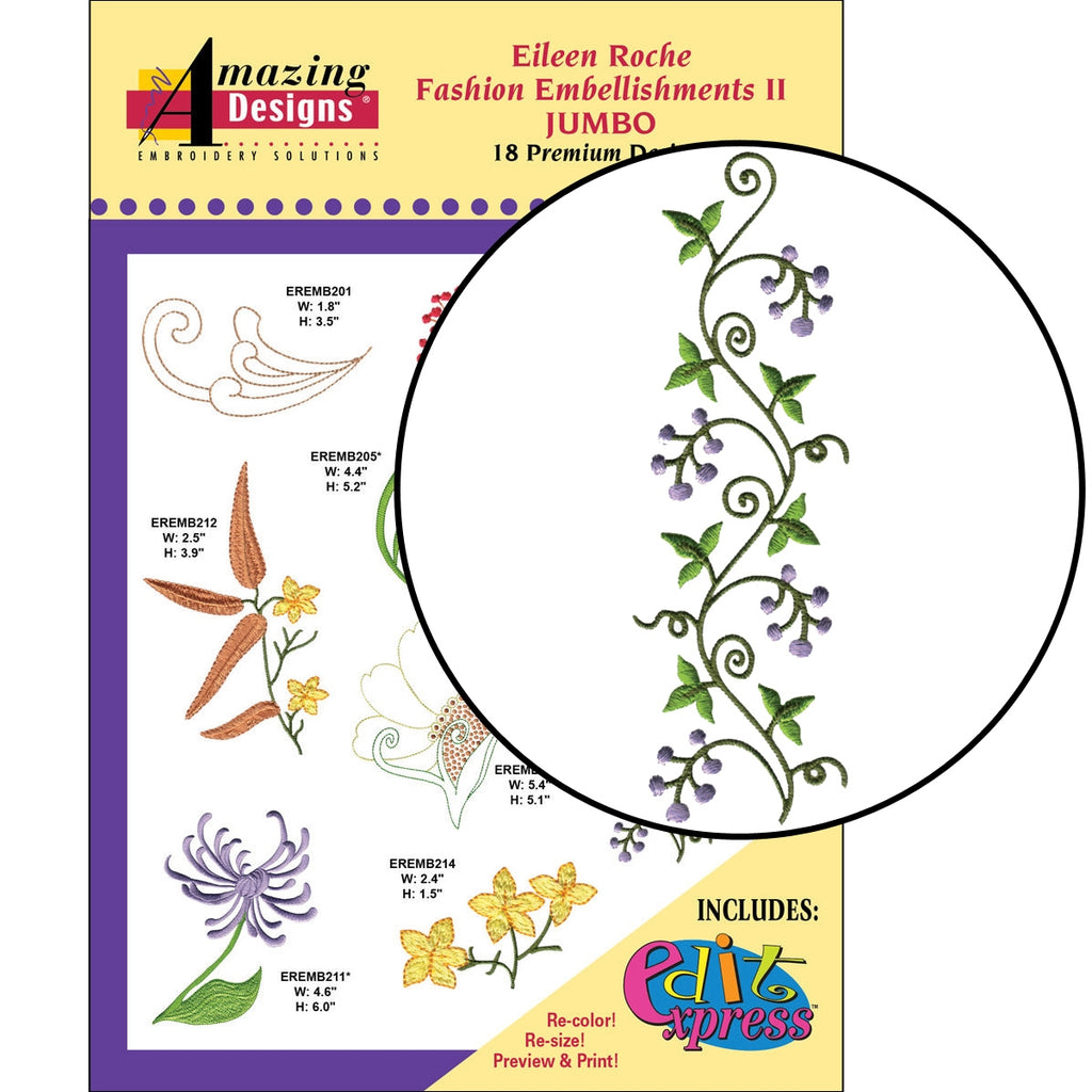 Fashion Embellishments II Embroidery Designs CD