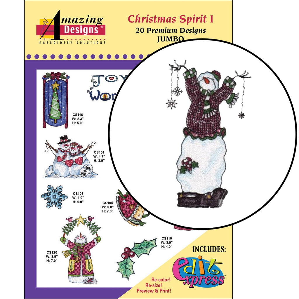 Christmas Spirit I Embroidery Designs CD