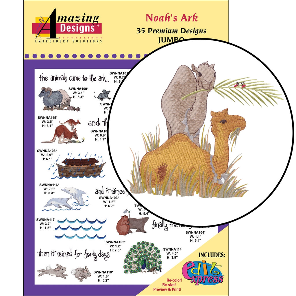Noah's Ark Embroidery Designs CD