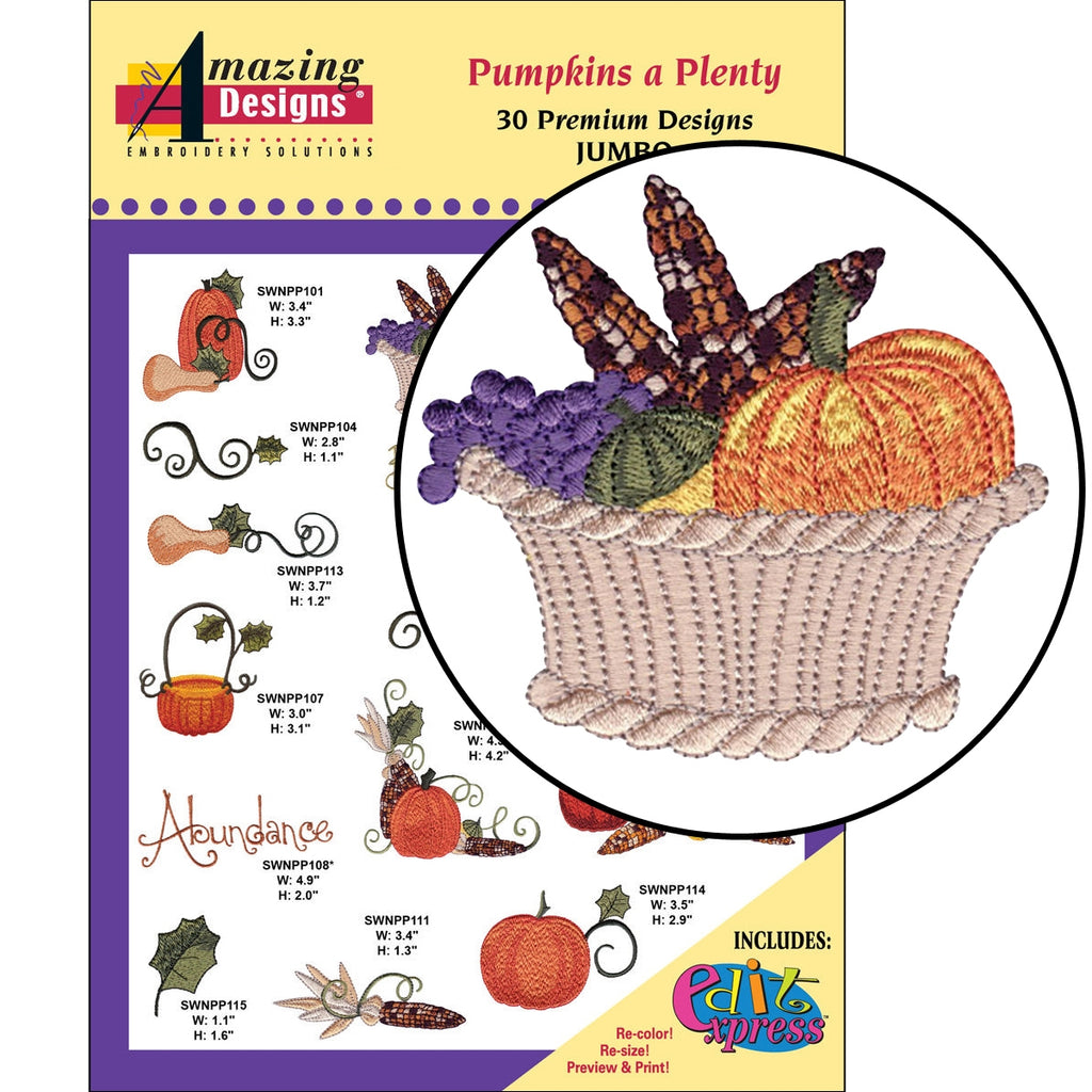 Pumpkins a Plenty Embroidery Designs CD