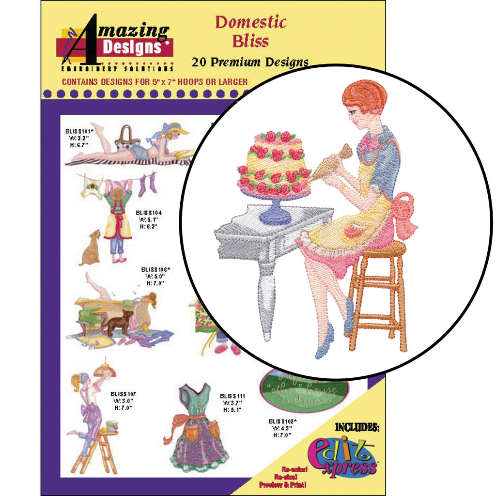 Domestic Bliss Embroidery Designs CD
