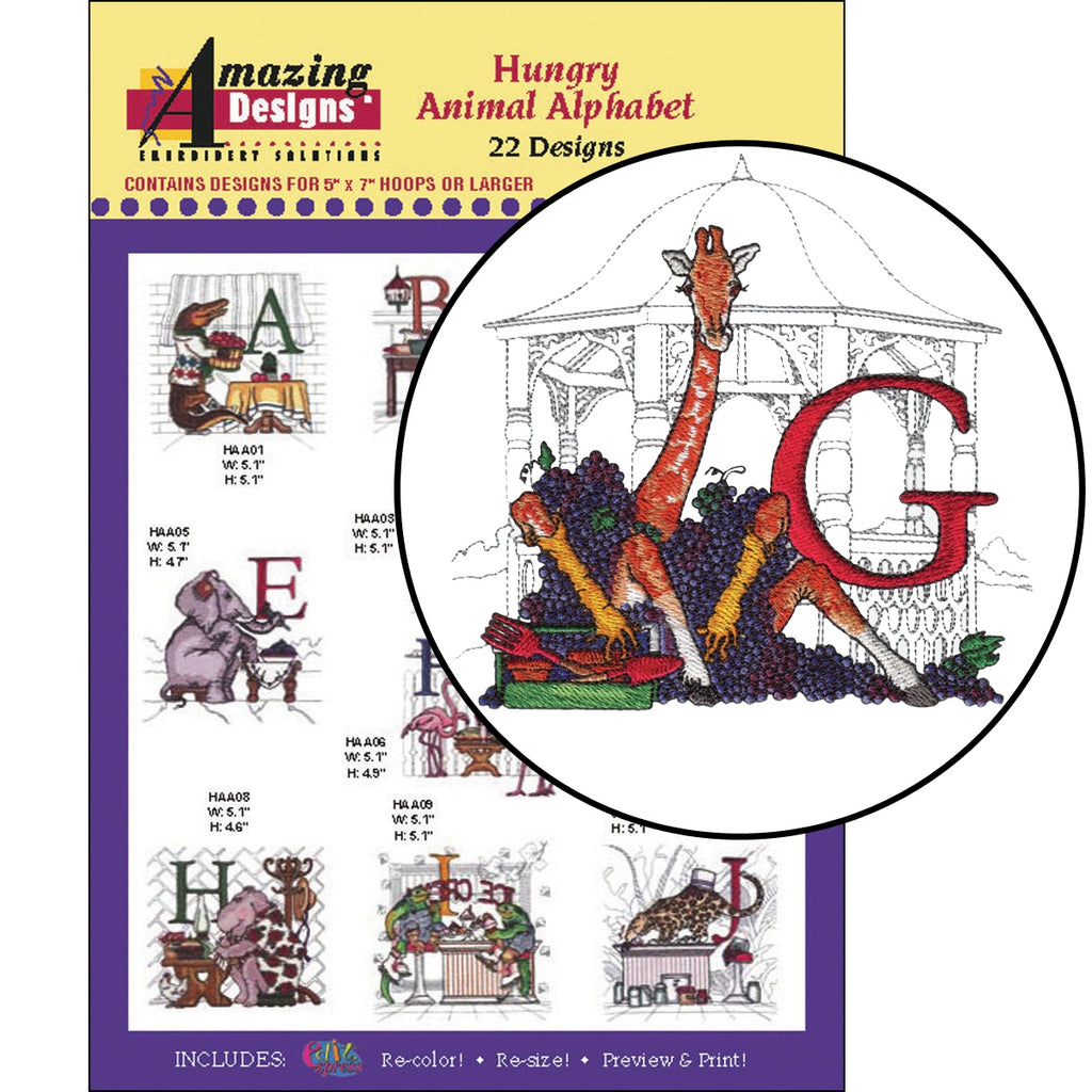 Hungry Animal Alphabet Embroidery Designs CD