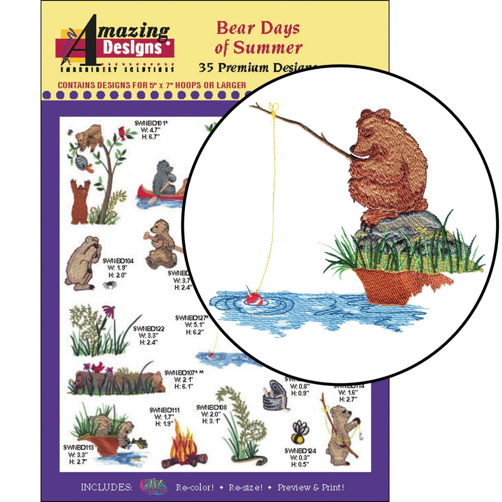 Bear Days of Summer Embroidery Designs CD