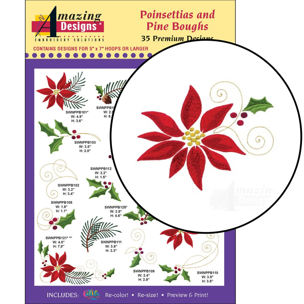 Poinsettias and Pine Boughs Embroidery Designs CD