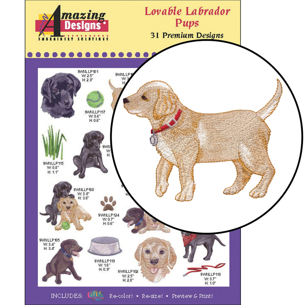 Lovable Labrador Pups Embroidery Designs CD