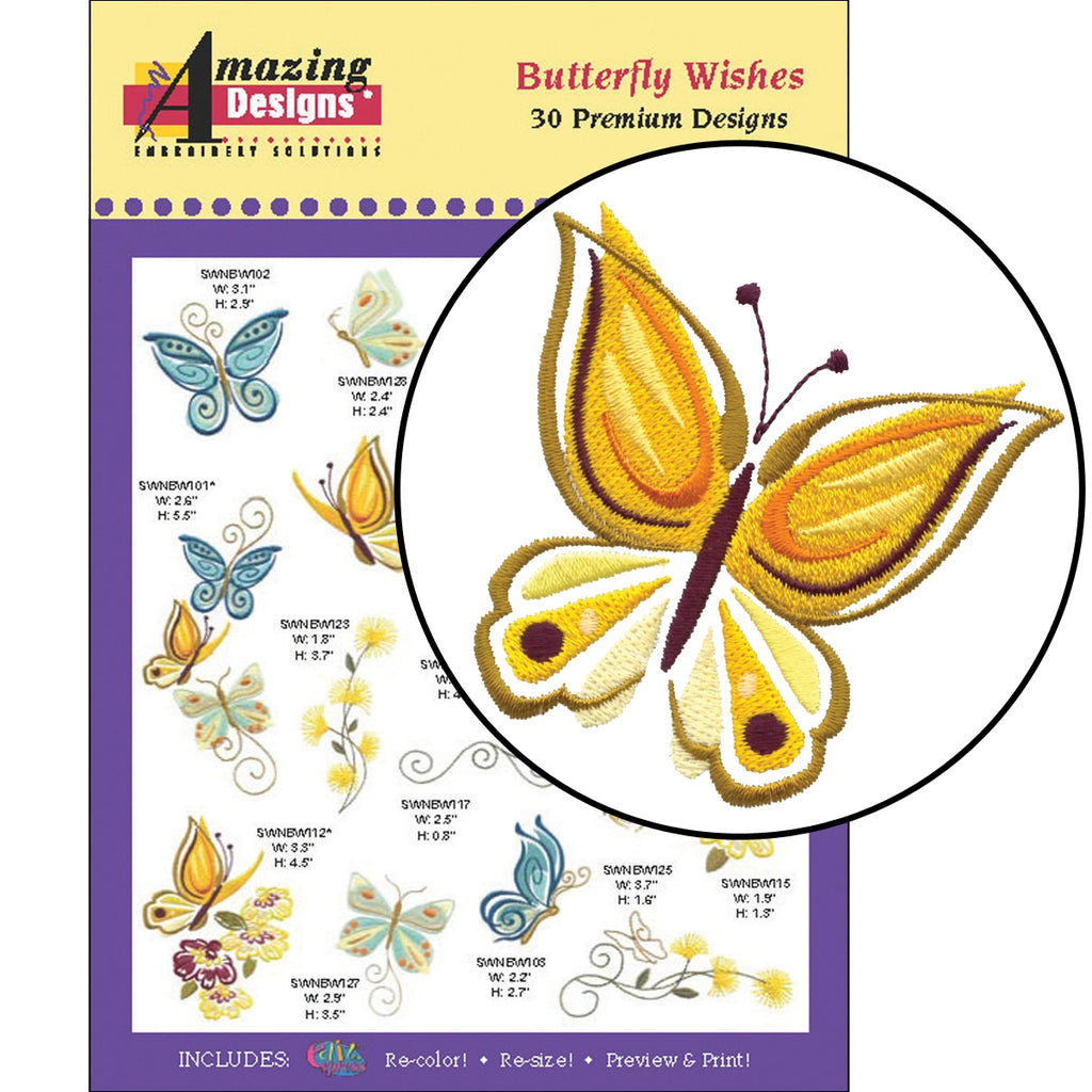 Butterfly Wishes Embroidery Designs CD