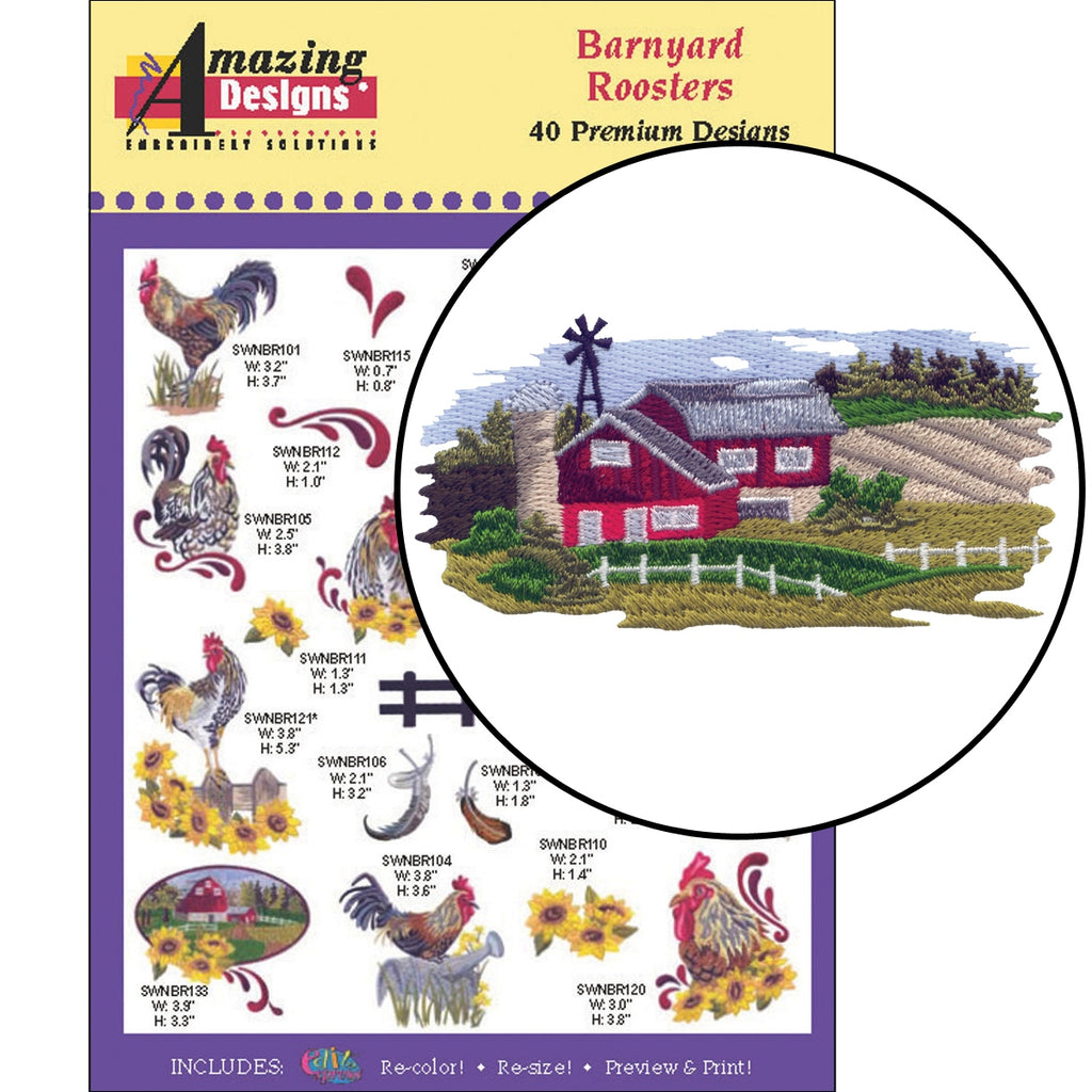 Barnyard Roosters Embroidery Designs CD