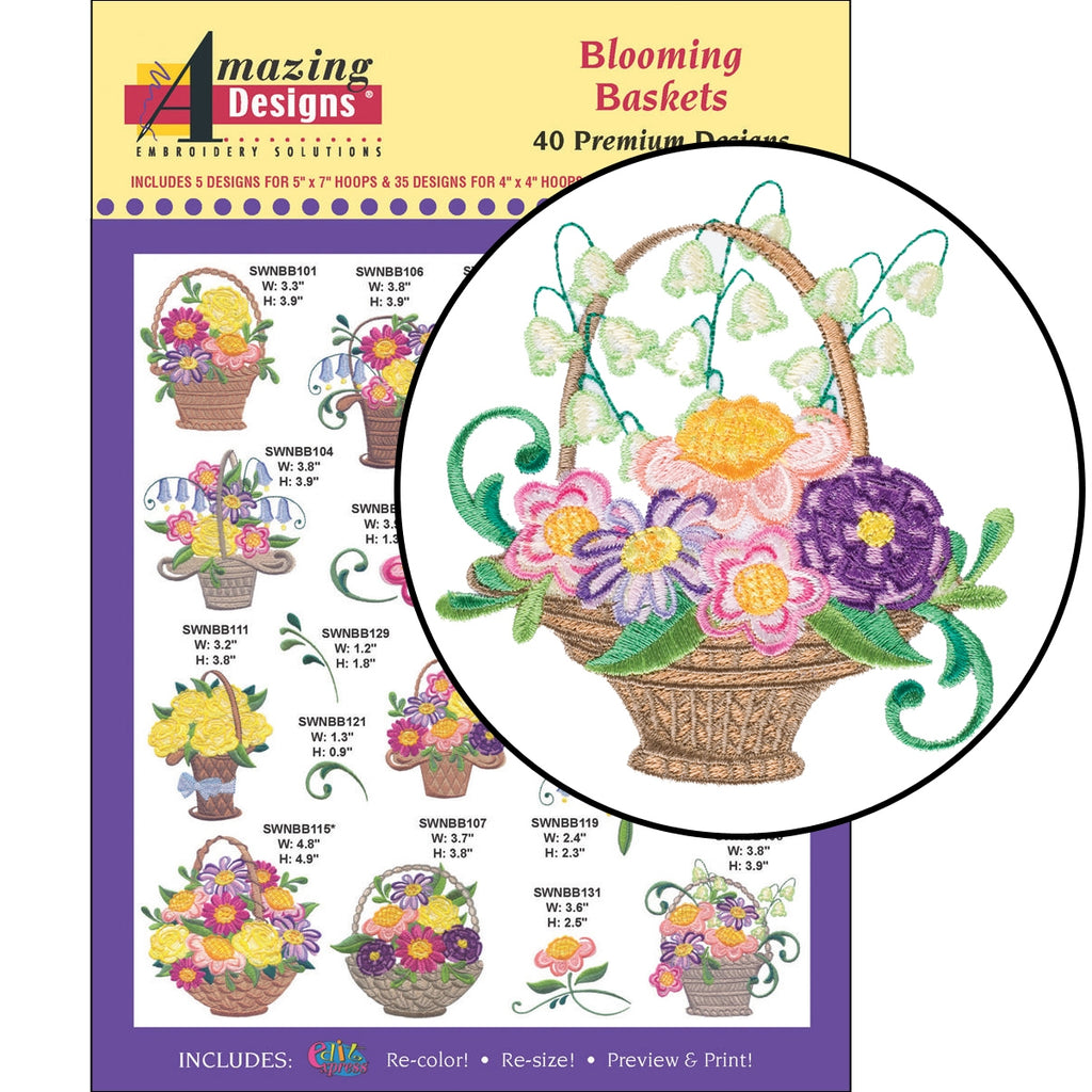 Blooming Baskets Embroidery Designs CD