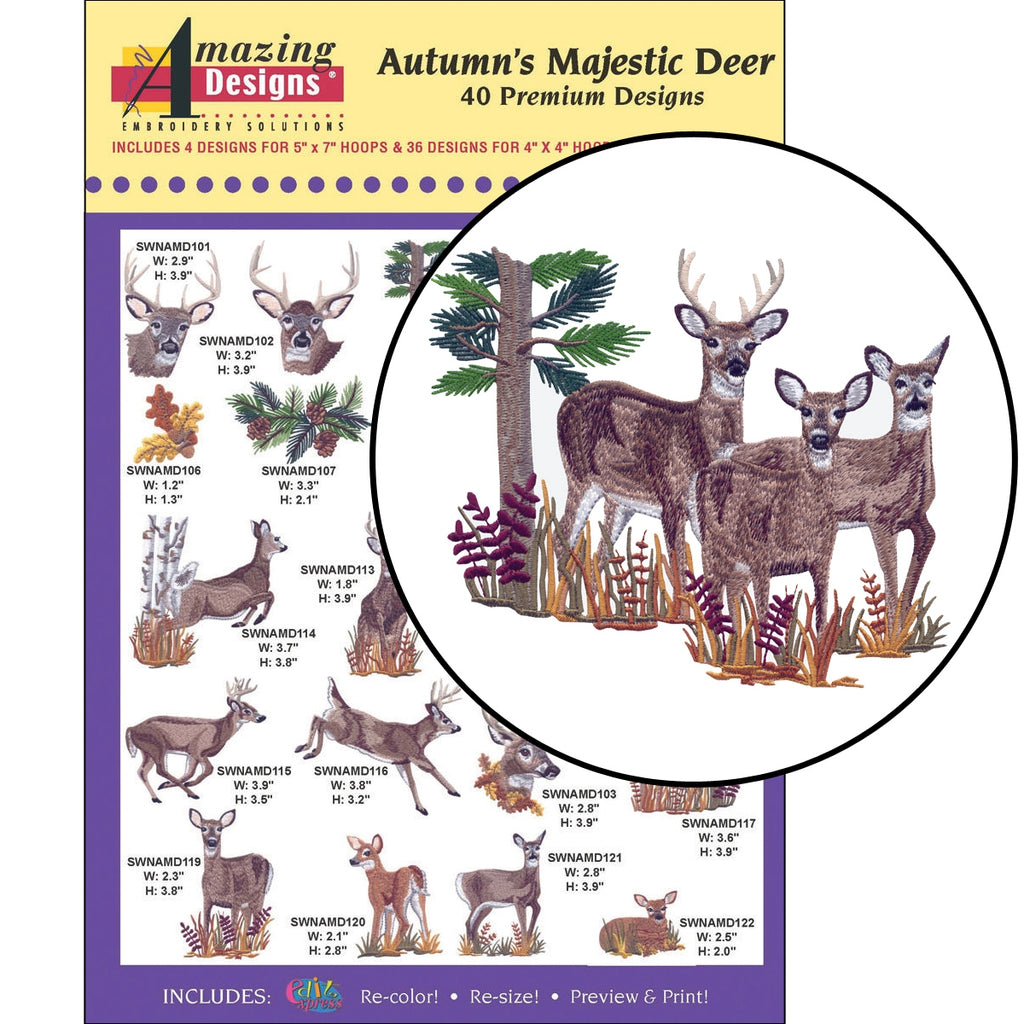 Autumn's Majestic Deer Embroidery Designs CD