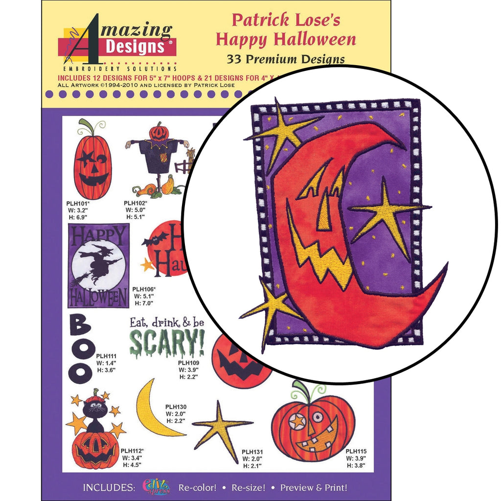 Patrick Lose's Happy Halloween Embroidery Designs CD