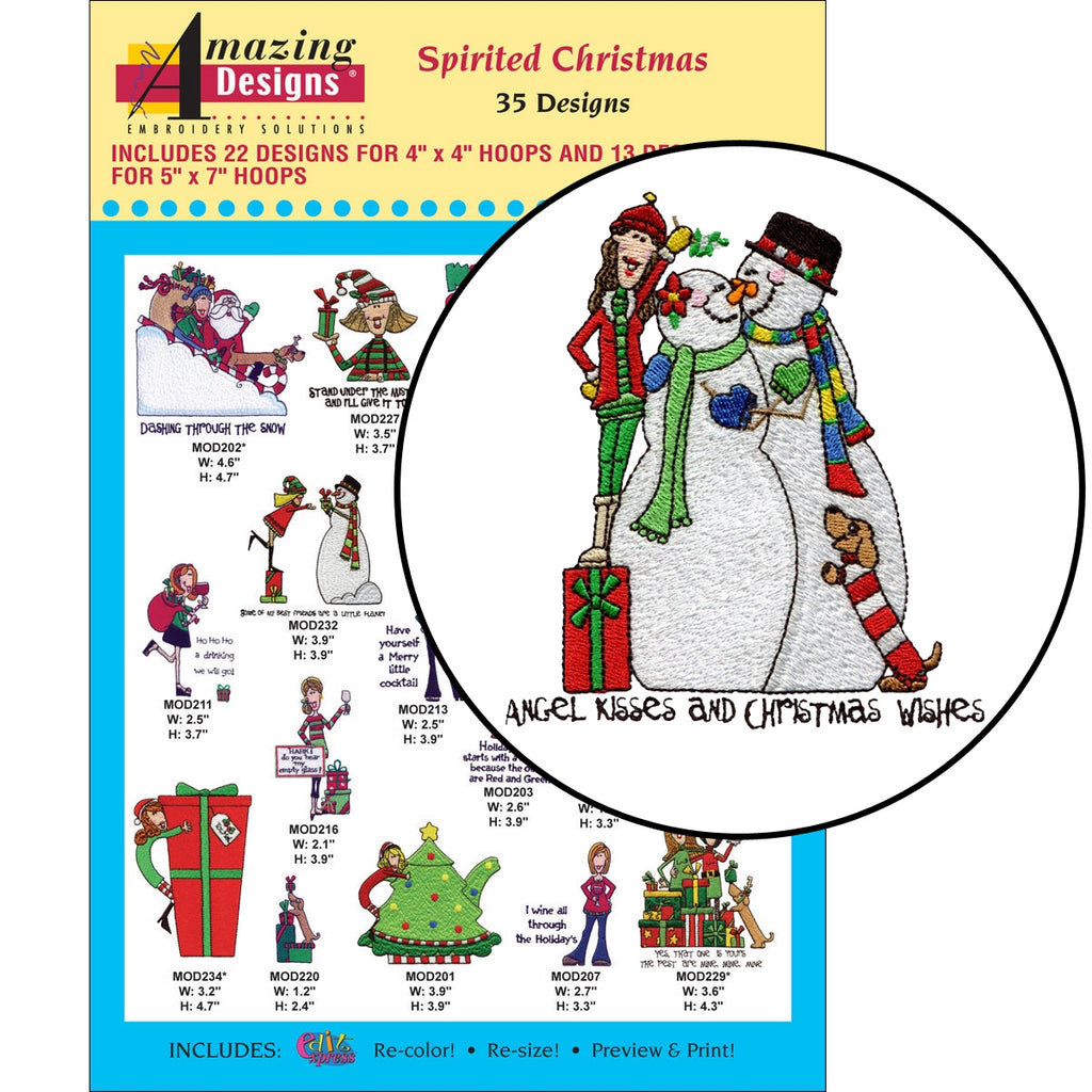 Spirited Christmas Embroidery Designs CD