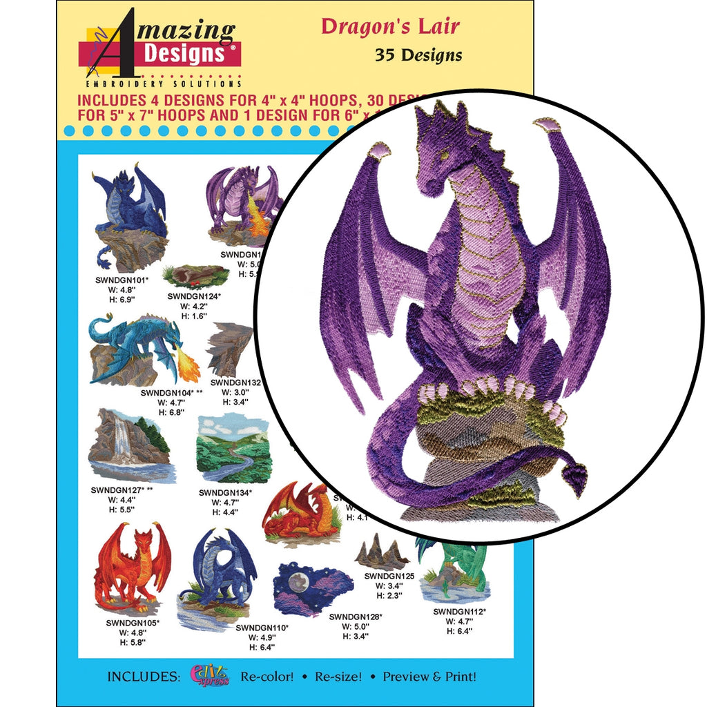 Dragon's Lair Embroidery Designs CD