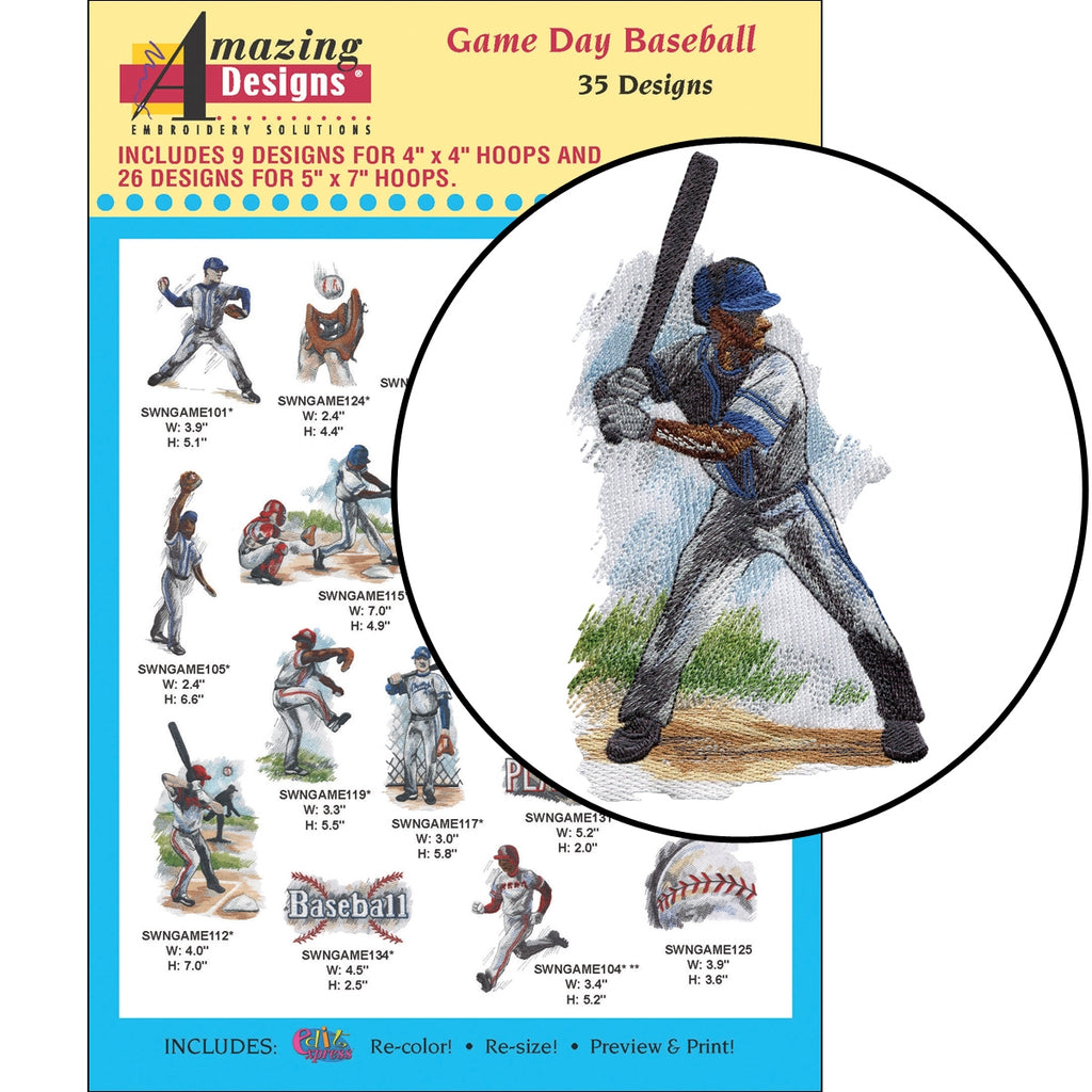 Game Day Baseball Embroidery Designs CD