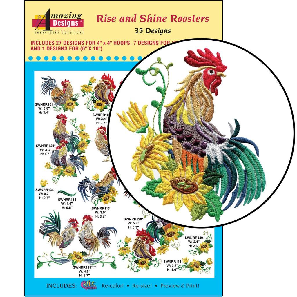 Rise and Shine Roosters Embroidery Designs CD