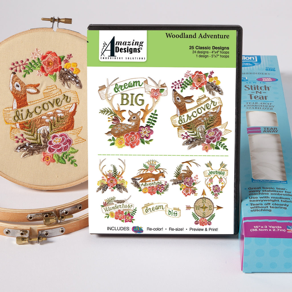 WOODLAND ADVENTURE EMBROIDERY STARTER KIT