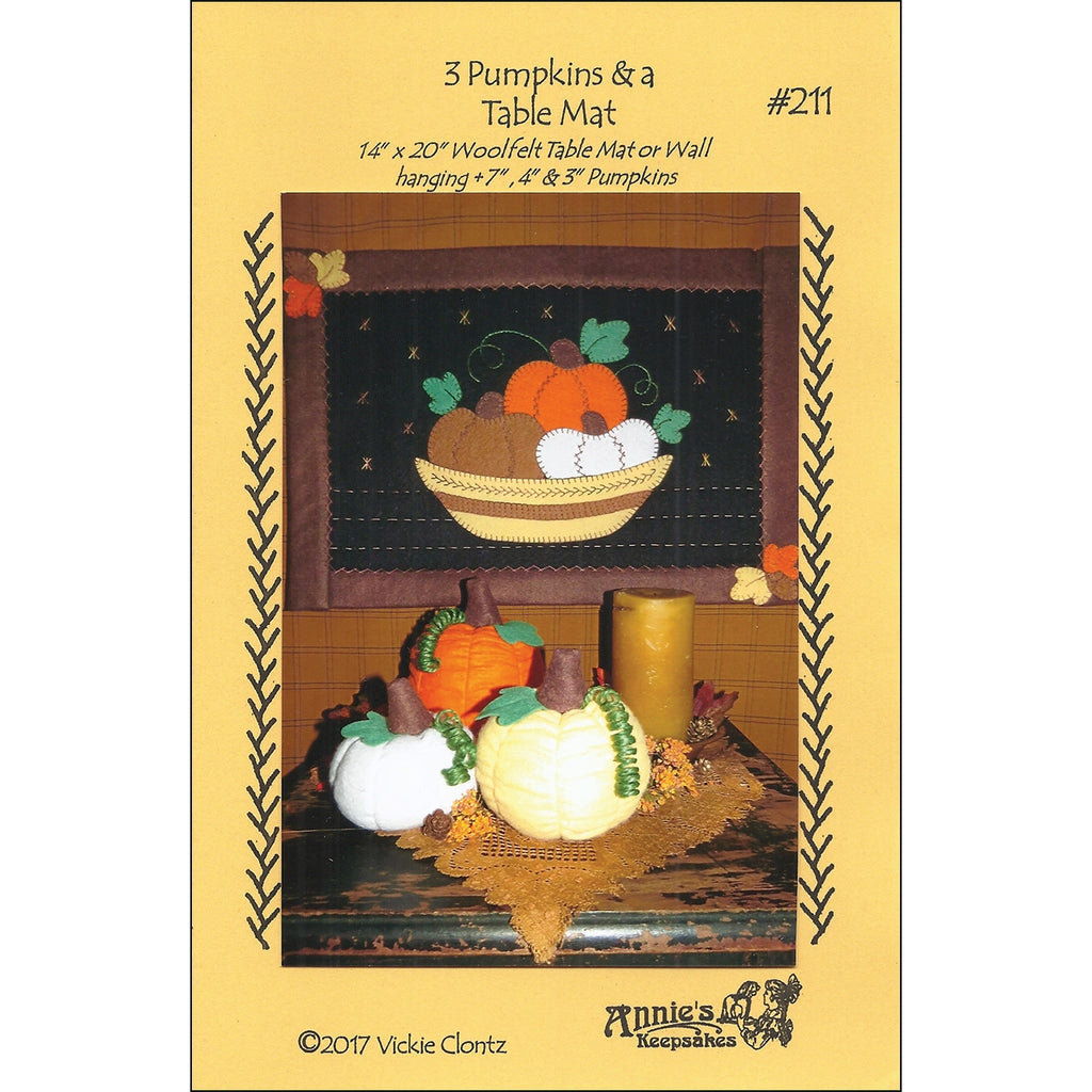 Three Pumpkins and a Table Mat Pattern
