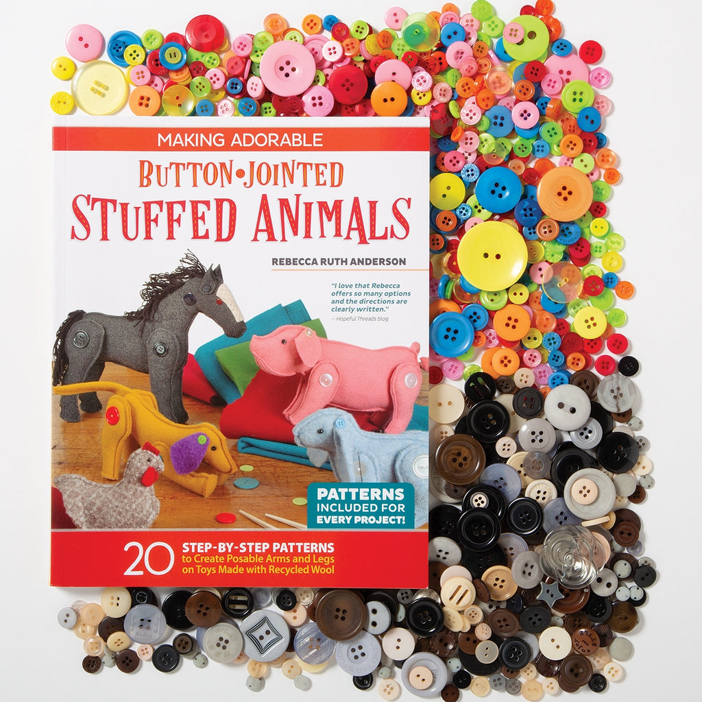Making Adorable Button-Jointed Stuffed Animals Book & Buttons