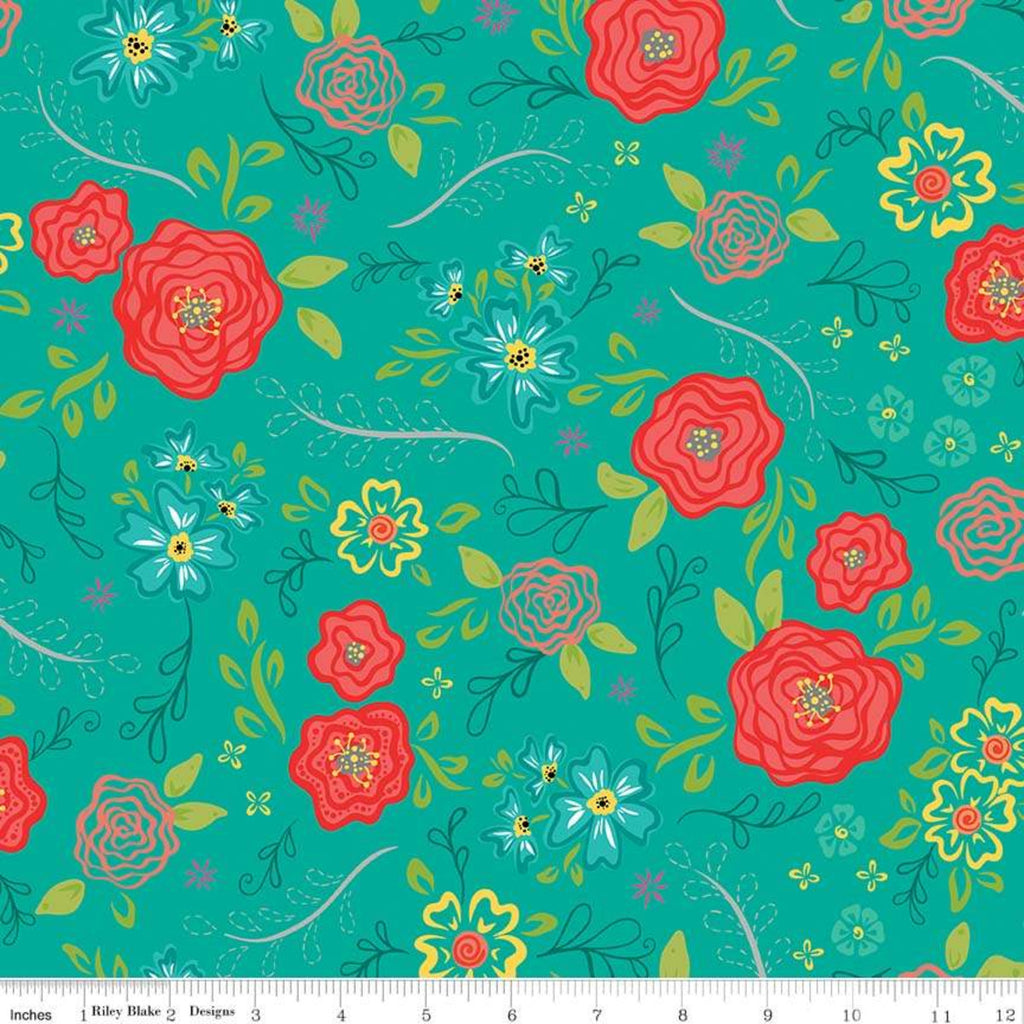 Riley Blake Wildflower Teal Fabric