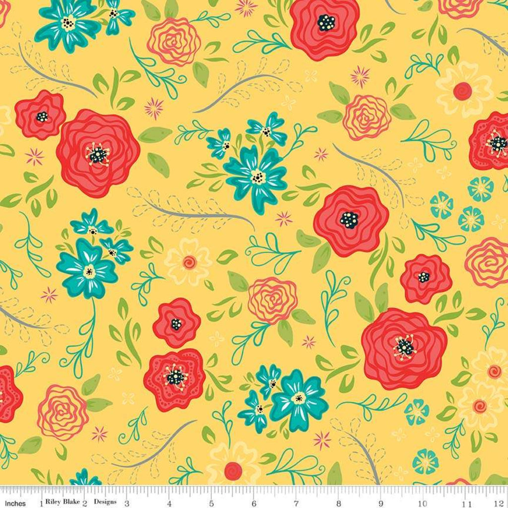 Riley Blake Wildflower Yellow Fabric