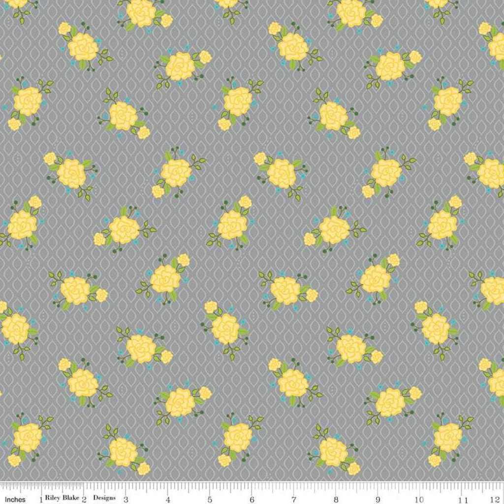 Riley Blake Wildflower Gray Floral Fabric