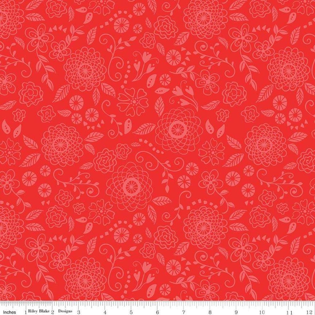 Riley Blake Wildflower Red Line Work Fabric
